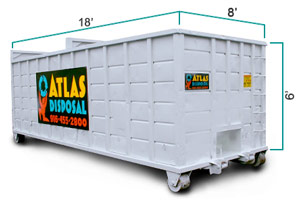 30yd Open Top Roll-Off Dumpster (8'W x 6'H x 18'L) - Atlas Disposal